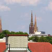 Coventry's skyline with towers in England