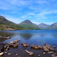 Cumbria UK landscape with lake and mountains