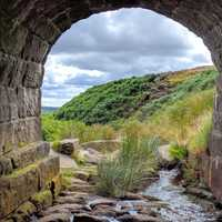 Landscape of England through a tunnel
