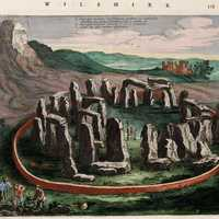 Old depiction of Stonehenge