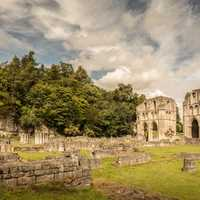 Roche Abbey landscape in Yorkshire, England