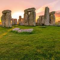 Stonehenge under the sunset skies