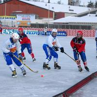 Finland against Norway during the 2004 Women's Bandy World Championship