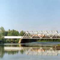 Kiiminki River railway bridge in Haukipudas, Finland