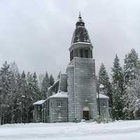 Konnevesi Church building in the snow in Finland
