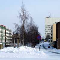 Meripuistokatu street with the Kemi City Hall in the background in Finland