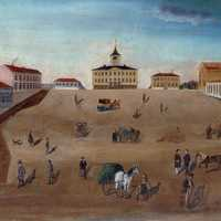 Old town hall and market square in 1852 painting in Pori, Finland