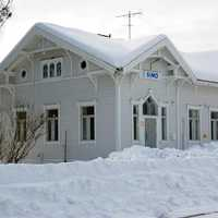Snow covered railway station in Simo, Finland