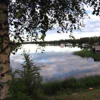 View of the Liperi harbour, on a summer night in Liperi, Finland
