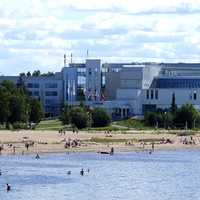 Spa Hotel Eden and sand beach in Nallikari recreation and tourism area in Finland