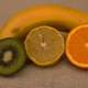Art Still Life with Banana, Kiwi, grapefruit, and orange