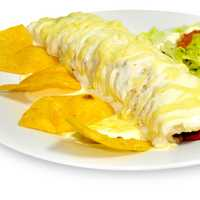 Burrito with cheese and chips