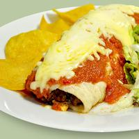 Burrito with cheese and salsa