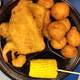 Chicken, fish, corn, and Hushpuppies
