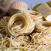 Coils of pasta and noodles