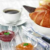 Croissants in a bowl with Jam for breakfast or snack