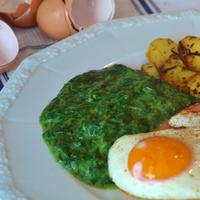 Egg Omelette with green stuff and Potatoes