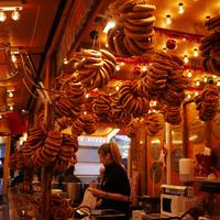 Fresh Pretzels Hung in Bakery