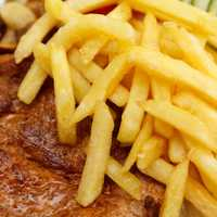 Fries over the steak