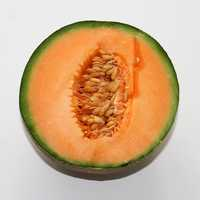 Half of an open Cantaloupe