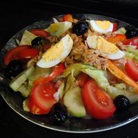 Salad with eggs and meats