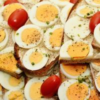 Sliced Eggs with small Tomatoes