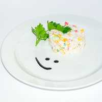 Smiley Rice Dish with Cilantro