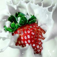 Strawberry splashing in milk