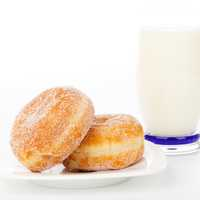 Two Donuts with a glass of Milk