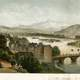 A panorama of the château and the Gave de Pau, around 1870 in Pau, France