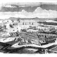 Black and White Drawing of Toulon in 1850 in France
