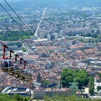 Cable Cars in Cityscape in Grenoble, France