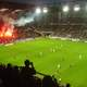 Flares of the Roazhon Celtic Kop at the Roazhon Park in Rennes, France