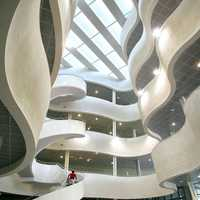 The interior of the University of Le Havre library in France