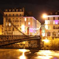 Lighted up Grenoble city at night