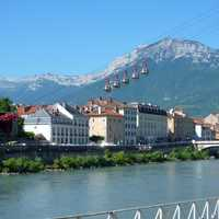 Lower station with landscape and mountains and lakes in Grenoble, France