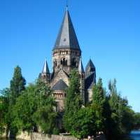 Protestant church Temple Neuf on the Moselle river in Metz, France