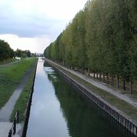 The banks of the Canal de l'Ourcq in Aulnay-Sous-Bois, France