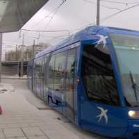 Train on Tramway Network in Montpellier, France