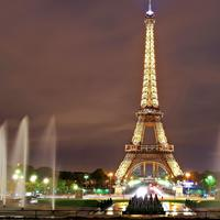 Eiffel Tower lighted at Night