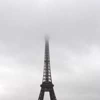 Eiffel Tower going into the fog and mist