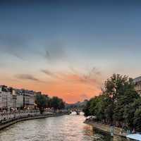Paris sunset from the Pont Saint-Michel, France