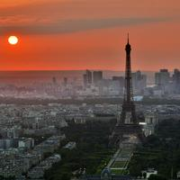 Sunset in Paris, France