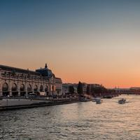 Sunset on the Seine in Paris, France