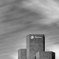 The Total Tower, La Défense, Paris black and white