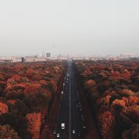 Skyline of Berlin and road