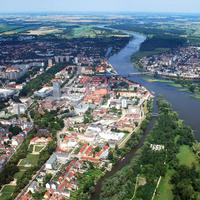 Aerial landscape View of the city of Frankfurt