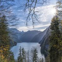 Königssee Landscape with lake and scenery