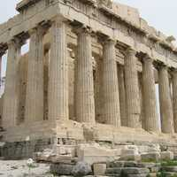 Side of the Parthenon in Athens, Greece