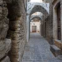 An alleyway of stone in Chois, Greece